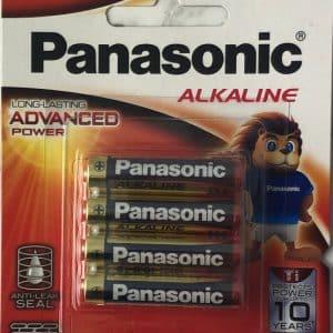 "Battery 1.5 volt ""AAA"" Alkaline Panasonic Pack of 4"