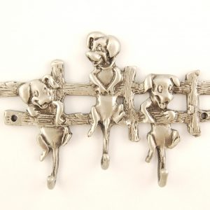 3 Pups on Fence Pewter Key Hanger
