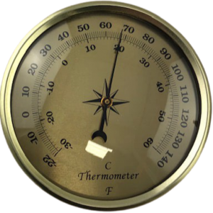Thermometer 90mm Gold Dial