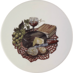 Cheese Tile with Brie and Glass of Wine