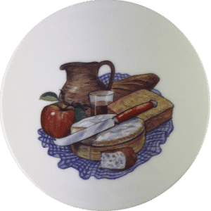 Cheese Tile with Apple, Jug, cheese and Blue Cloth