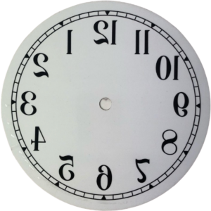Backwards Dial White Arabic 165mm