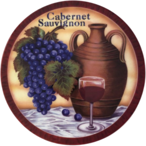 Cheese Tile with Cabernet Sauvignon and grapes